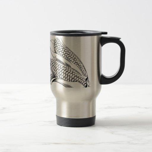 Vintage retro woodcut sweetcorn coffee mug