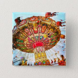 Vintage retro yellow carnival swing ride photo 2 inch square button