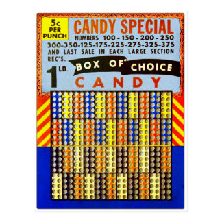 Vintage RetroKitsch Gambling Punch Board Candy Postcard