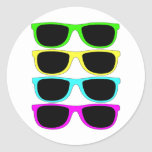 Vintage Rgb Fluo Sunglasses Round Stickers