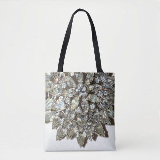 Vintage Rhinestone Diamond Bling Pattern Tote Bag