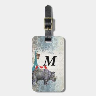 Vintage rhino luggage tag