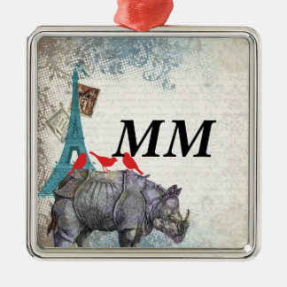 Vintage rhino Silver-Colored square ornament