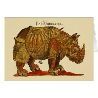 Vintage Rhino Woodcut Print - Durer's Rhinoceros Card