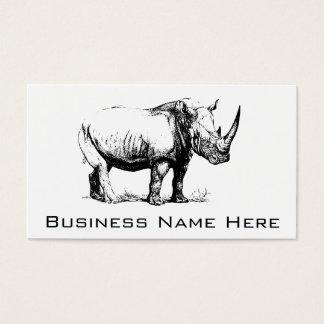 Vintage Rhinoceros Illustration, Animal Business Card