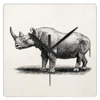 Vintage Rhinoceros Illustration Rhino Rhinos Square Wallclocks