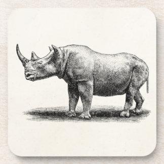 Vintage Rhinoceros Illustration Rhino Rhinos Coasters