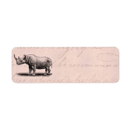 Vintage Rhinoceros Illustration Rhino Rhinos Pink