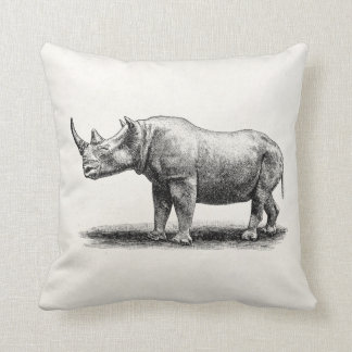 Vintage Rhinoceros Illustration Rhino Rhinos Throw Pillow
