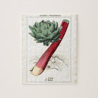 Vintage Rhubarb Botanical Print Jigsaw Puzzle
