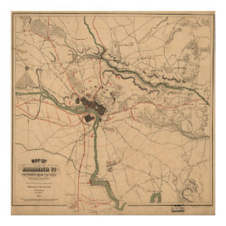 Vintage Richmond VA Rebel Defense Map (1864) Poster