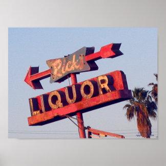 Vintage Ricks Liquor Sign Print