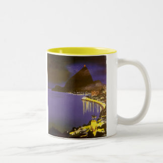 Vintage Rio De Janeiro at Night Two-Tone Coffee Mug