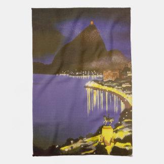 Vintage Rio De Janeiro, Brazil at Night Hand Towels