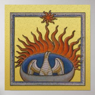 Vintage Rising Phoenix Mythological Firebird Poster