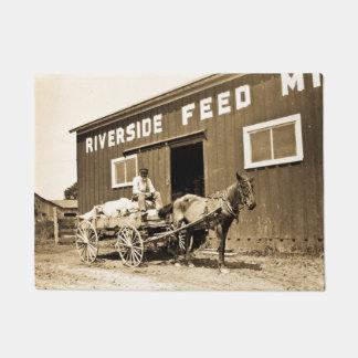 Vintage Riverside Feed Mill Farming Horse Wagon Doormat