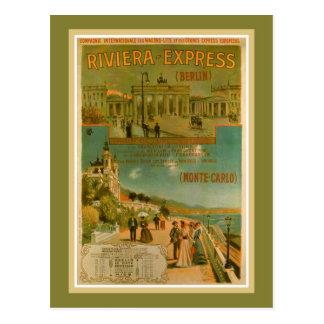 Vintage Riviera Express Berlin Amsterdam Nice Postcard