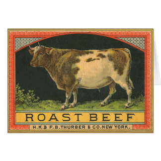 Vintage Roast Beef Advertisement Card