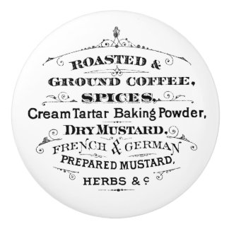 Vintage Roasted Ground Coffee Spices Mustard Ceramic Knob