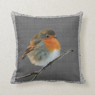Vintage Robin bird,  rustic dark gray burlap frame Throw Pillow