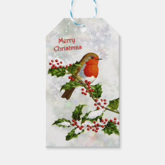 Vintage Robin, holly Christmas Pack Of Gift Tags