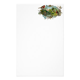 Vintage Robins and Forget-Me-Nots Stationery Paper