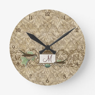 Vintage Robins Egg Blue Birds Scroll Monogram Round Clock