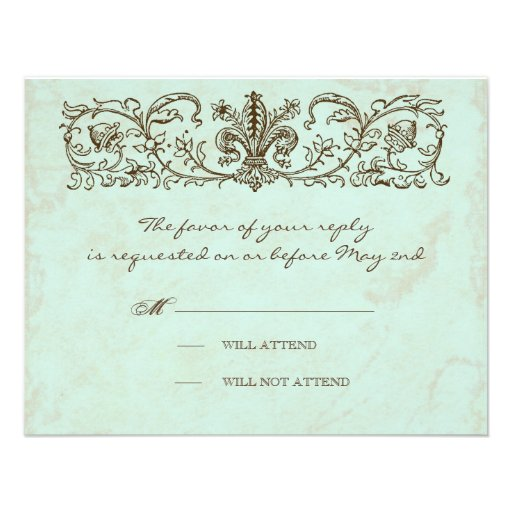 Vintage Robins Egg Blue Crown Swirl Flourish Invite