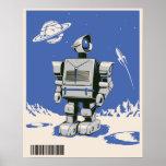 Vintage Robot 1 blue Poster