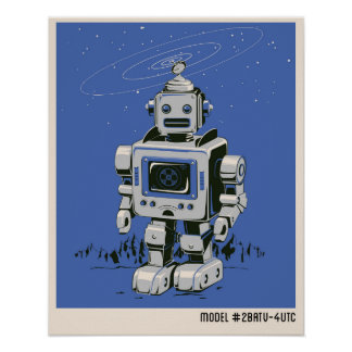 Vintage Robot 2 blue Poster