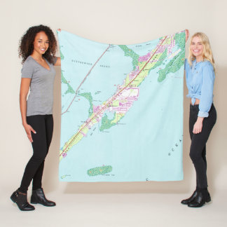 Vintage Rock Harbor Florida Map (1947) Fleece Blanket