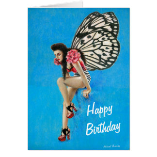 Vintage Rockabilly Fairy Birthday Card