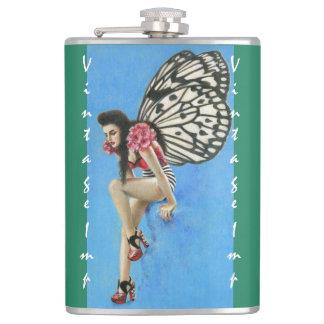 Vintage Rockabilly Imp Wrapped Flask