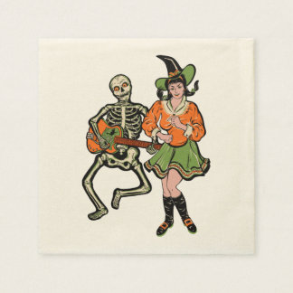 Vintage Rockabilly Skeleton and Witch Napkins Disposable Napkins