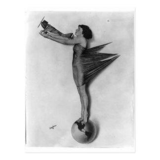 Vintage Rocket Lady Postcard