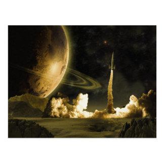 Vintage Rocket Launch Postcard