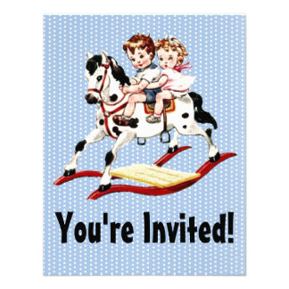 Vintage Rocking Horse Personalized Invitations
