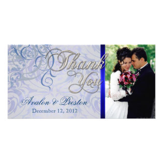 Vintage Rococo Blue Thank You Photo Cards