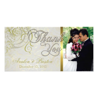 Vintage Rococo Gold Thank You Photo Cards