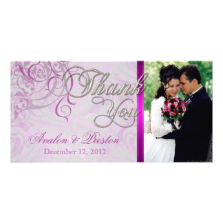 Vintage Rococo Pink Thank You Photo Cards