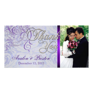 Vintage Rococo Purple & Blue Thank You Photo Cards