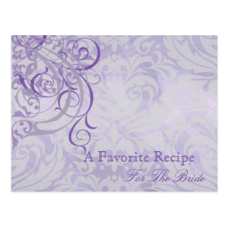 Vintage Rococo Purple Bridal Shower Recipe Card