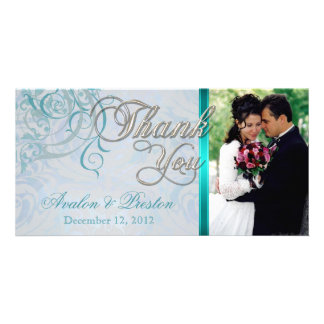 Vintage Rococo Teal Thank You Photo Cards