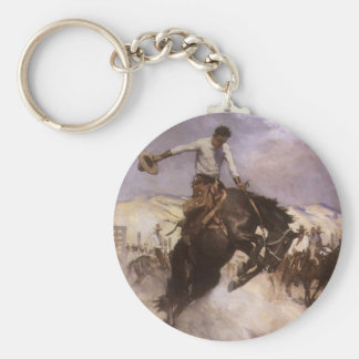 Vintage Rodeo Cowboy, Breezy Riding by WHD Koerner Keychain