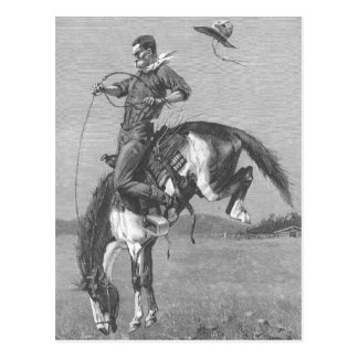 Vintage Rodeo Cowboys, Bucking Bronco by Remington Postcard