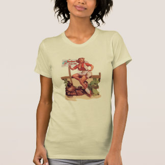 Vintage Rodeo Cowgirl Hitchin' a Ride To The Rodeo T-Shirt