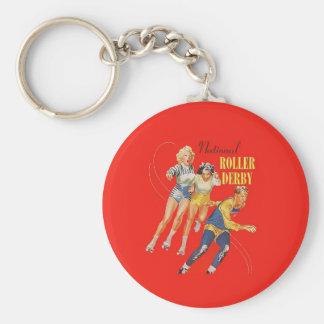 Vintage Roller Derby Program cover art Basic Round Button Keychain