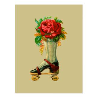 Vintage Rollerskate With Red Rose Postcard