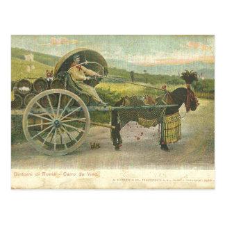 Vintage Roman Wine Cart/Carra de Vino Postcard