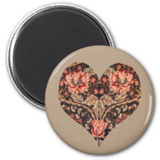 Vintage Romance Floral Heart 2 Inch Round Magnet